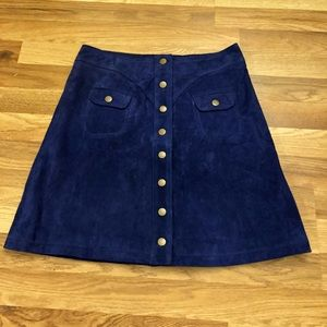 Anthropologie suede button up skirt